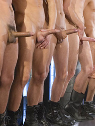 Slave boy licks boots in group sex before these hunks have a wild orgy
