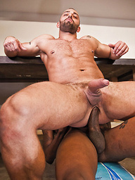 Fabio Stallone grabs Hot Rod's big black dick for an interracial gay hunk fucking