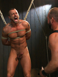 Josh West ties up super hunk Jessie Colter and fucks the screaming boy with his giant cock.