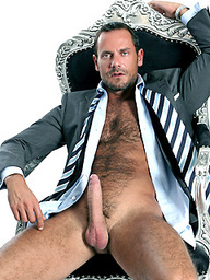 Hary hunk Jason Torres in a torture chair