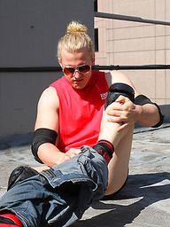 Australian lad Shane Phillips strips on a roof